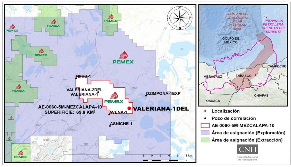 La Comisión Nacional de Hidrocarburos aprobó la modificación de PEMEX para perforar el pozo delimitador de terrenos Valeriana-1DEL.